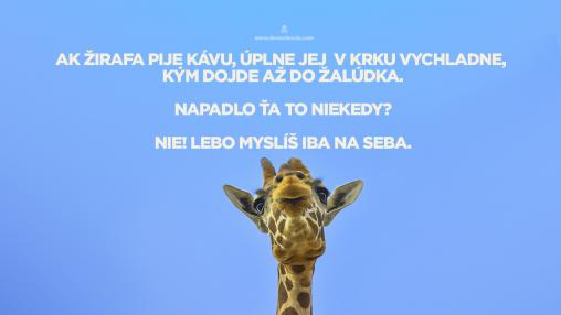 Ak žirafa pije kávu, úplne jej v krku vychladne, kým dojde až do žalúdka. Napadlo ťa to niekedy? Nie. Lebo sa staráš iba o seba!