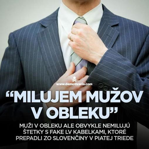 """""""Milujem mužov v obleku"""". Muži v obleku ale nemilujú štetky s fake Louis Vuitton kabelkami, ktoré prepadli zo slovenčiny v piatej triede"""